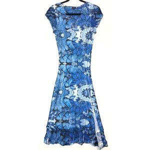 Komarov Lace Trim Cap Sleeve Crinkle Dress 9655